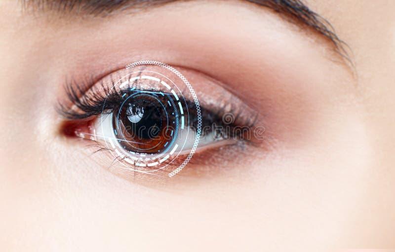 Digital female eye in process of scanning. Digital female brown eye in process of scanning stock images