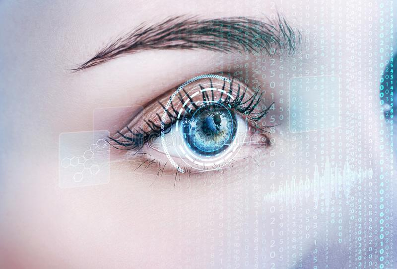 Digital female eye in process of scanning. Futuristic technology concept royalty free stock images
