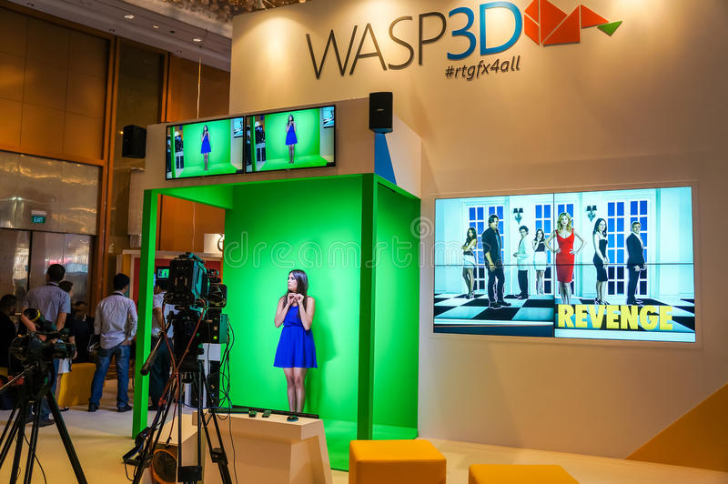 Digital Fernsehen und Sendungs-Technologie-Ausstellung in Singapur lizenzfreies stockbild