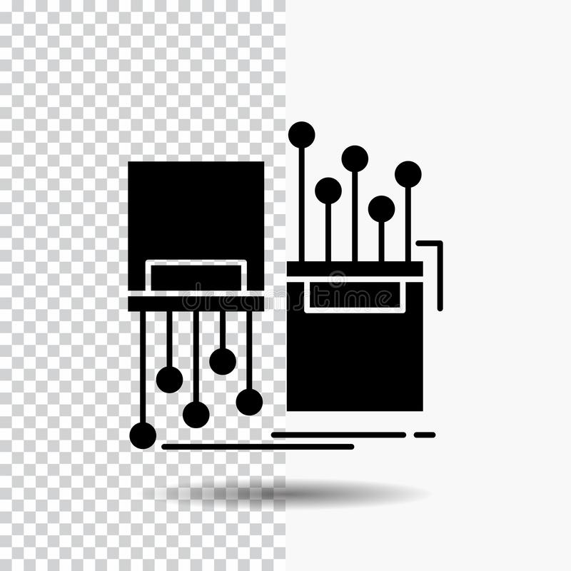 digital, fiber, electronic, lane, cable Glyph Icon on Transparent Background. Black Icon stock illustration