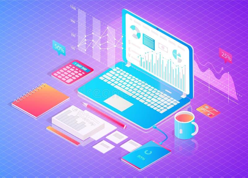Digital Finance Analytics Poster with Open Laptop vector illustration