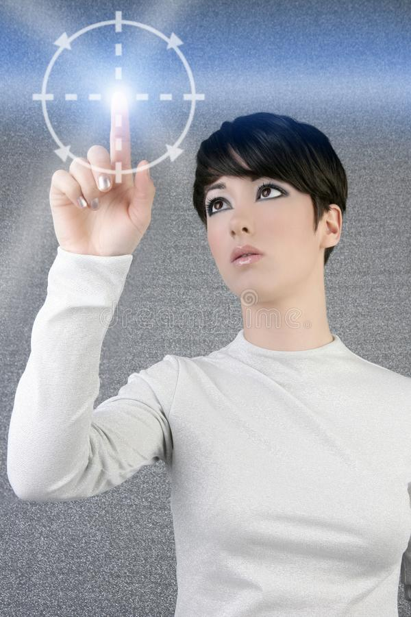 Digital finger scan woman touch pad light. Futuristic businesswoman royalty free stock image