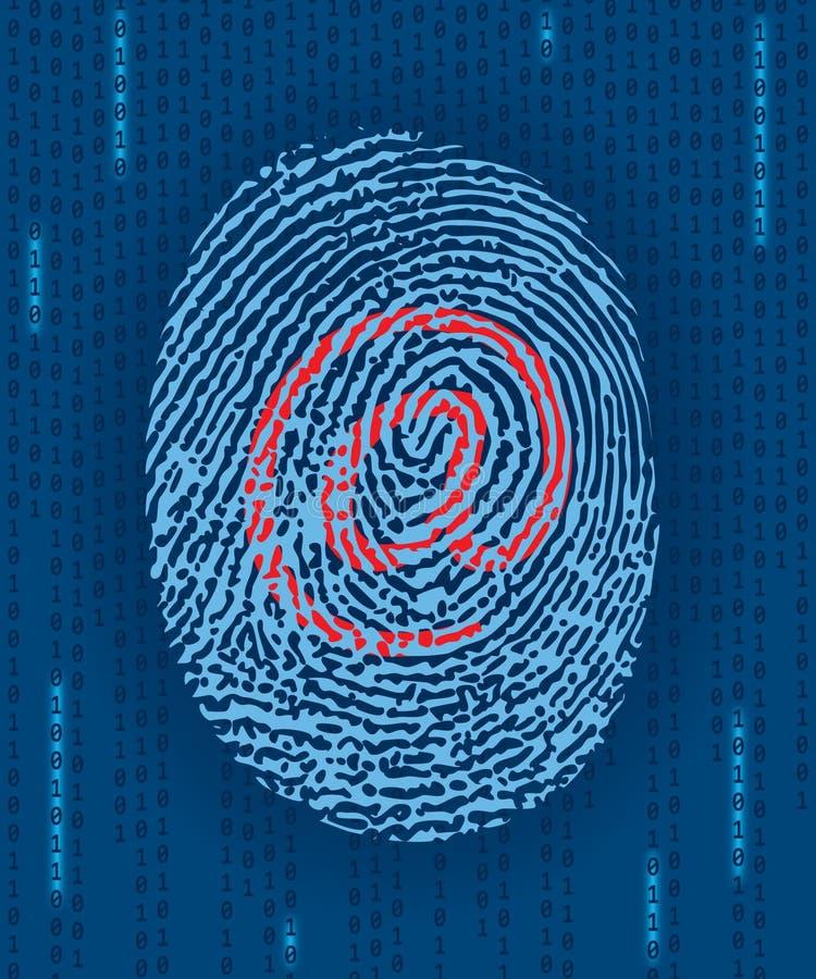 Digital-Fingerabdruck mit eMail-Markierung stock abbildung