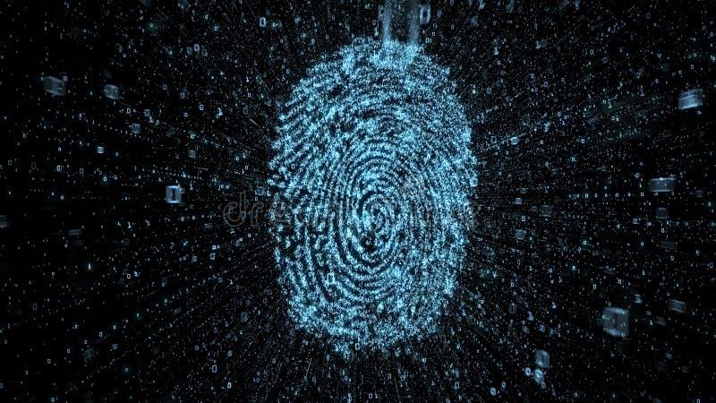 Digital fingeravtryck med strömmar av binära data som illustrerar begrepp av online-säkerhet stock illustrationer