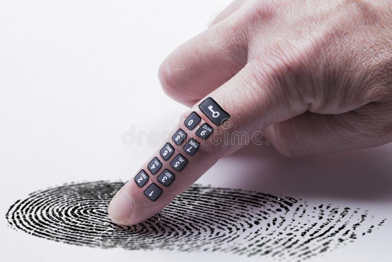 Digital fingeravtryckbegrepp för online-identitetsskydd arkivbilder