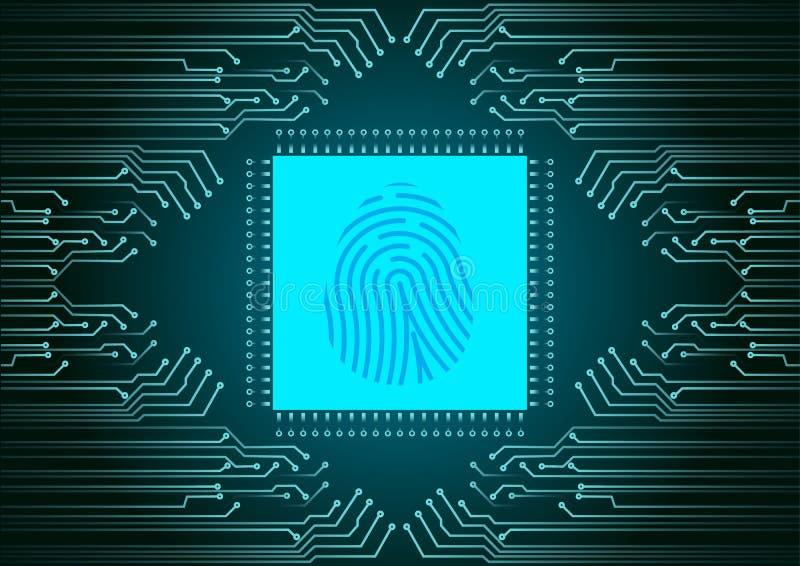 Digital fingeravtryckbildläsare; IDsystem; Cybersäkerhetsbegrepp royaltyfri illustrationer