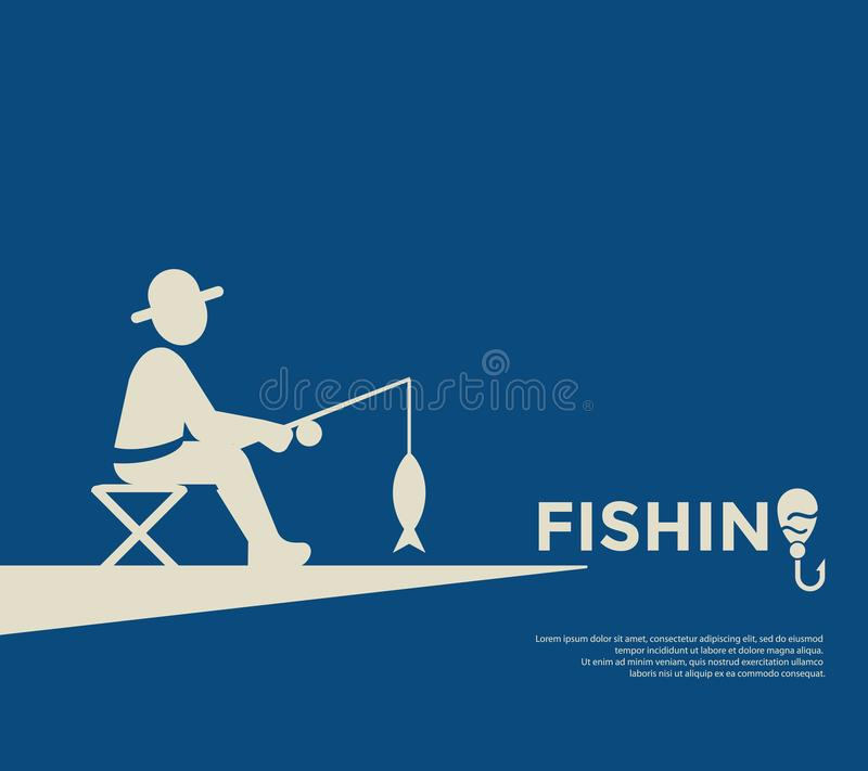 Digital fishing activity set collection. Decoration objects color simple flat icon with holding net or rod royalty free illustration