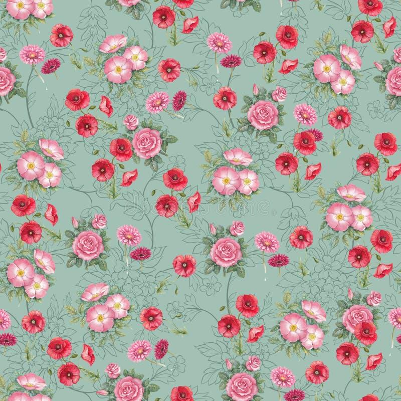Digital flower pattern print design royalty free stock photo