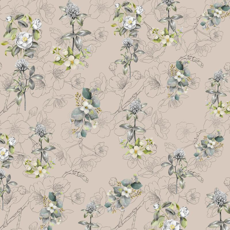 Digital flower pattern print design stock photos