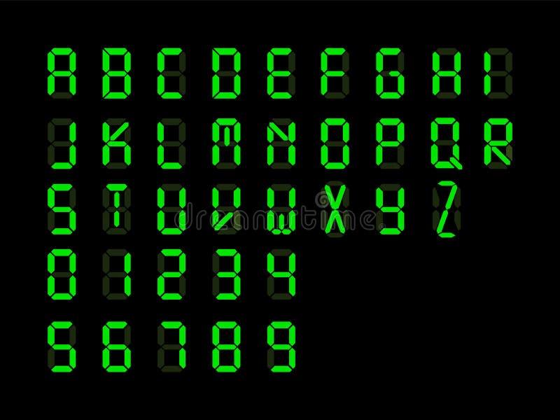 Font Green Digital Clock Stock Vector Illustration Of