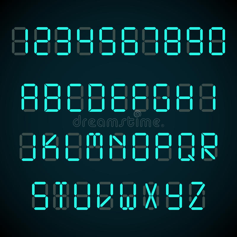 Digital Font Alarm Clock Letters And Numbers Vector Alphabet