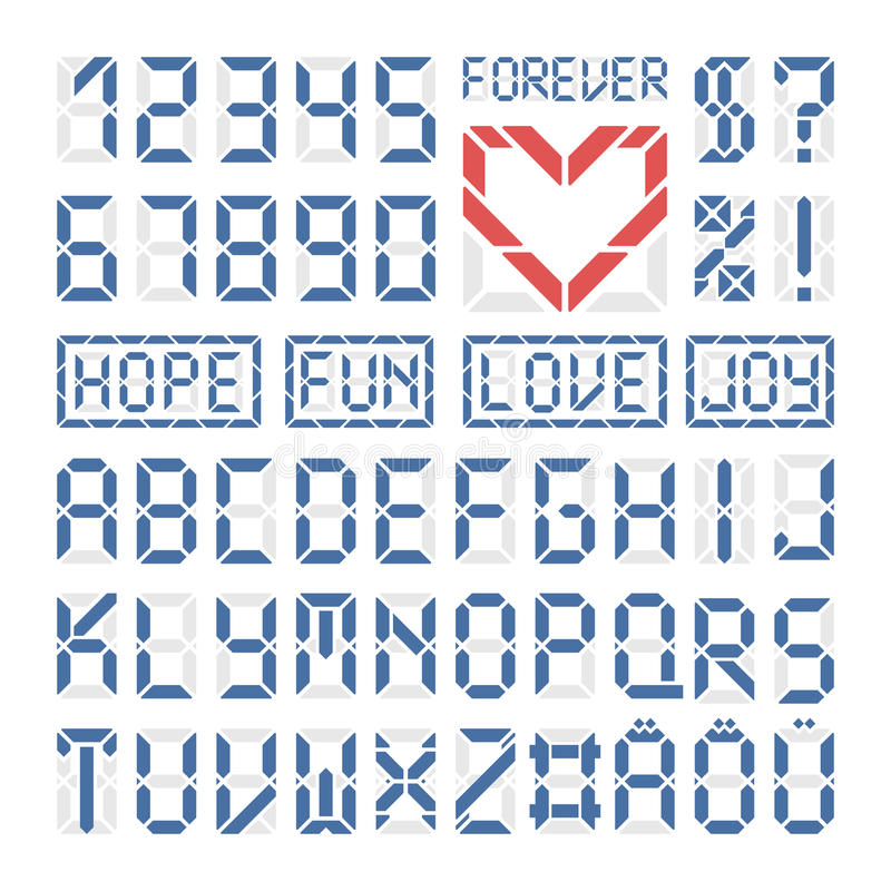 Download Digital Font Latin Alphabet Letters And Numbers Stock Vector