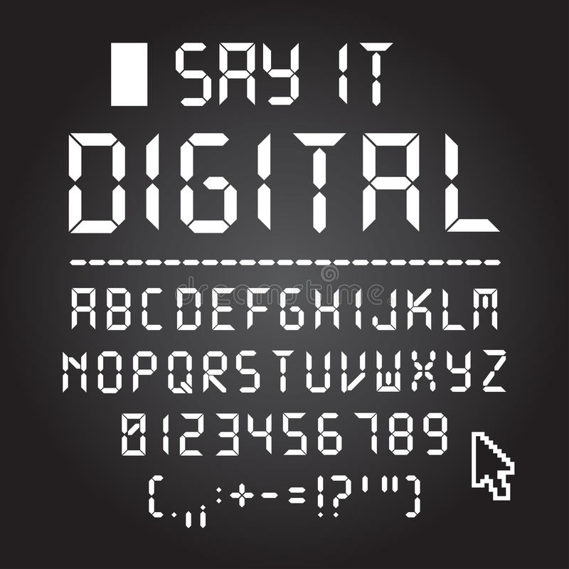 Digital font. Letters, numbers and punctuation stock illustration