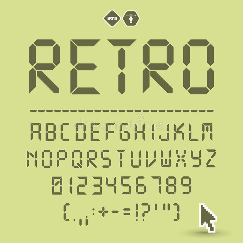 Digital font reflection. Digital font. Letters, numbers and punctuation stock illustration