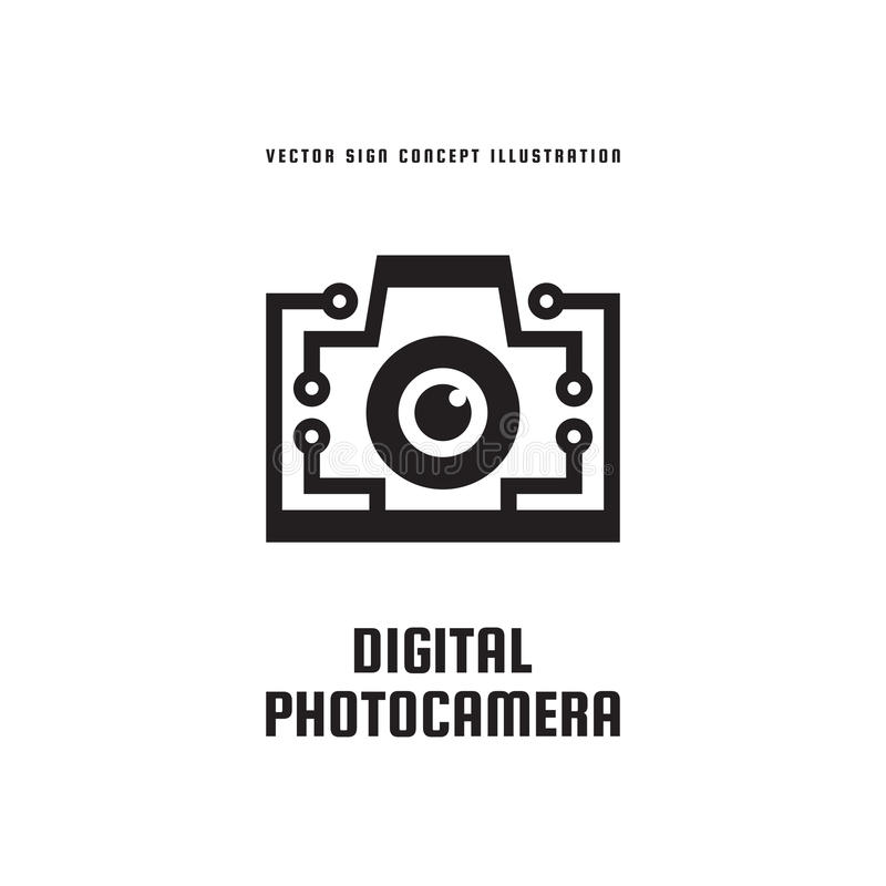 Digital-Fotokamera - Konzeptlogoschablonen-Vektorillustration Kreatives Ikonenzeichen der Fotografie Moderne photostudio Grafik lizenzfreie abbildung
