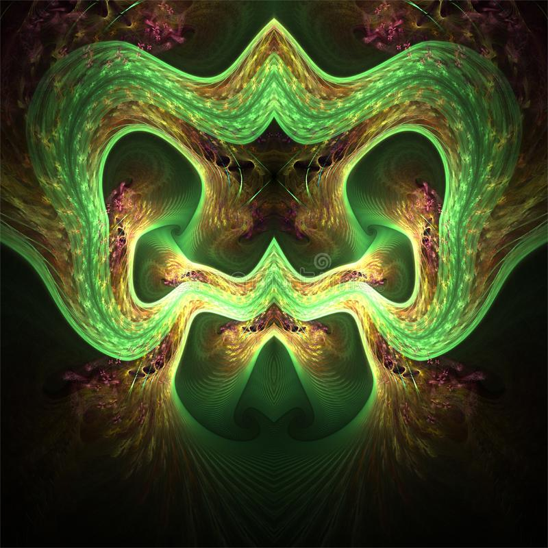 Digital fractalkonst för dator, fantastiska abstrakta former, terryfying grön maskering med öron och näsa royaltyfri illustrationer