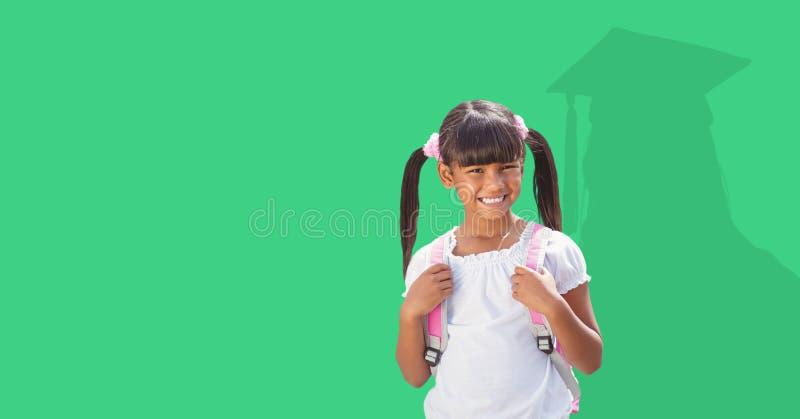 Digital frambragd bild av att le flickan med skugga av doktoranden i bakgrund arkivfoton