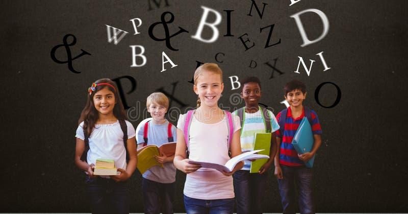 Digital frambragd bild av barn som rymmer böcker med bokstäver som flyger mot brun bakgrund royaltyfria foton