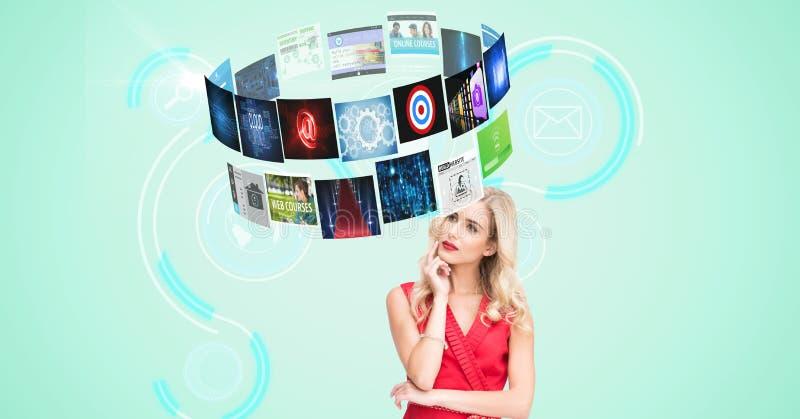 Digital frambragd bild av den fundersamma kvinnan som ser flygpaneler med techdiagram royaltyfri foto