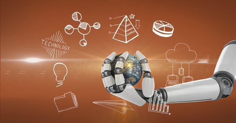Digital frambragd bild av det hållande jordklotet för robothand som omges av olika symboler vektor illustrationer