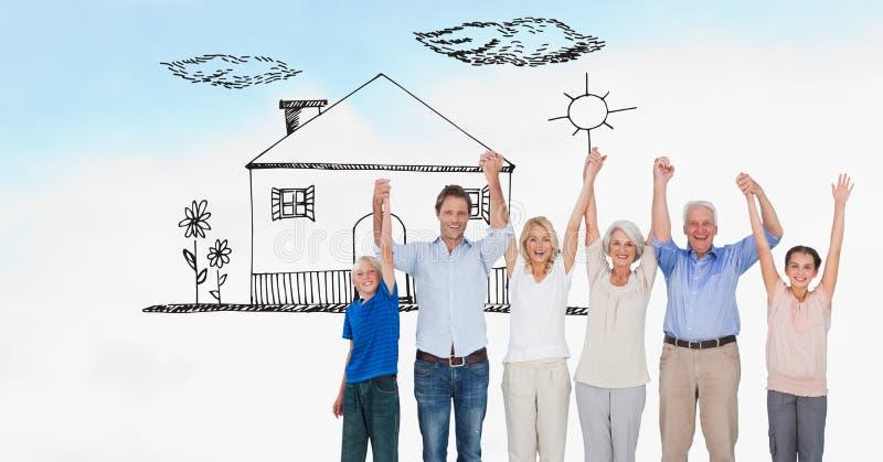 Digital frambragd bild av familjinnehavhänder, medan stå på fält med huset som dras i himmel arkivbild