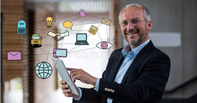 Digital frambragd bild av olika symboler med affärsmannen som i regeringsställning använder den digitala minnestavlan royaltyfri illustrationer