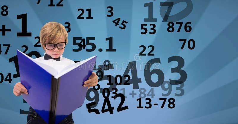 Digital frambragd bild av pojkeläseboken med nummer som flyger mot mönstrad bakgrund vektor illustrationer