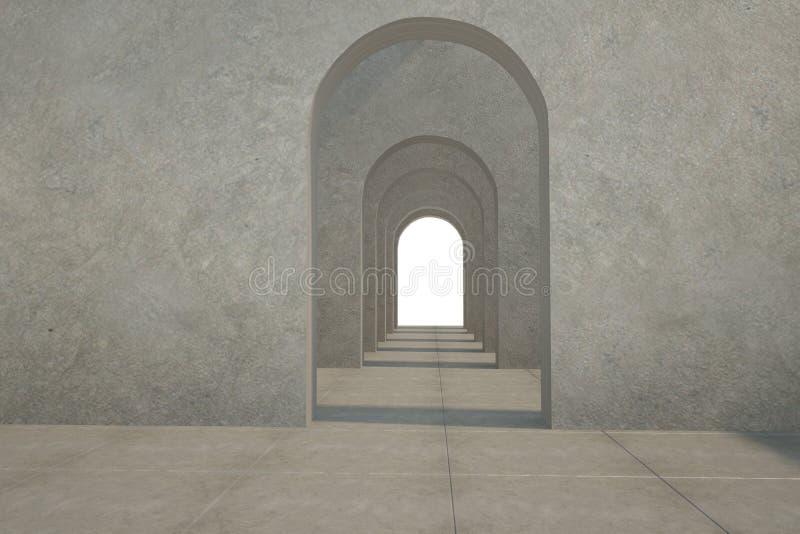 Digital frambragt rum med dörröppningar royaltyfri illustrationer