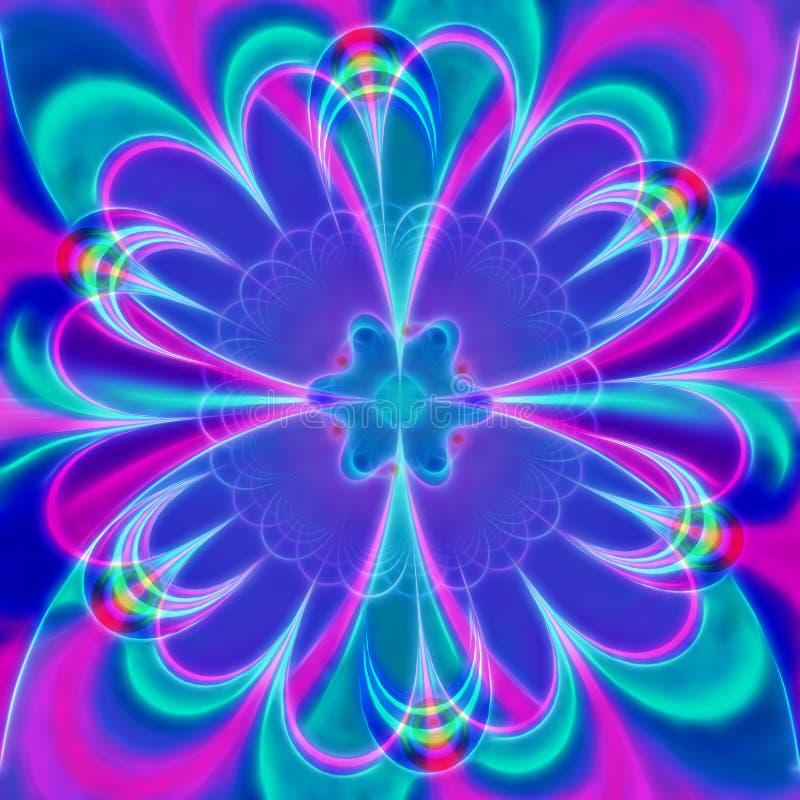 Digital frambragte den lila blomman, dator, fractalkonst för tolkningen 3D vektor illustrationer