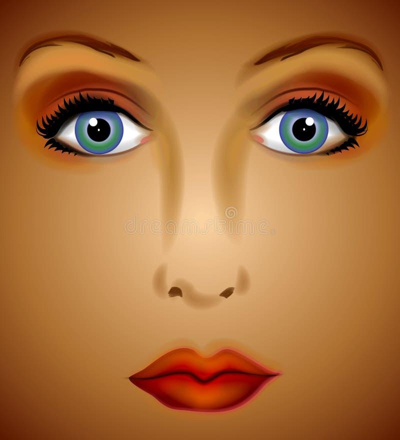 digital framsidakvinna för konst stock illustrationer