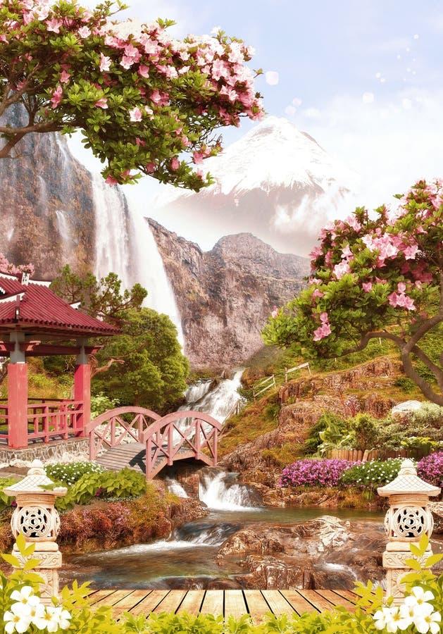 Digital freskomålning Trädgårds- near vattenfall royaltyfri foto