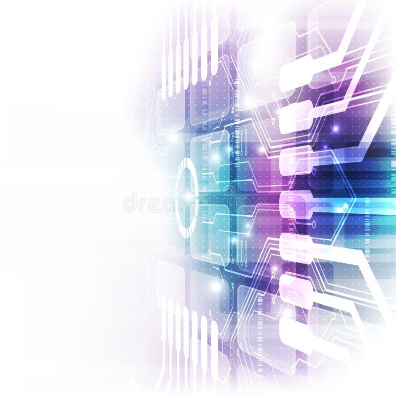 Digital futurista de la tecnología placa de circuito de la tecnología chipset de la tecnología abstraiga el fondo Vector stock de ilustración