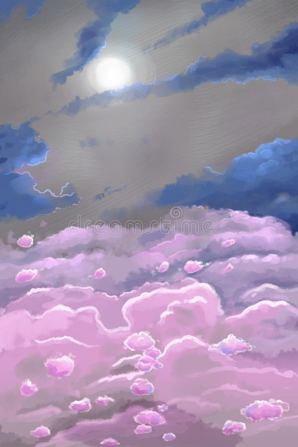 Digital futuristic illustration of the sun sky above clouds with unusual colours stock image