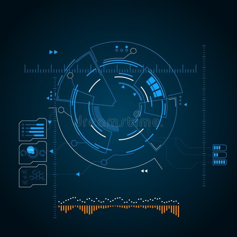 Digital futuristic user interface, HUD for app and web. Abstract vector illustration stock illustration