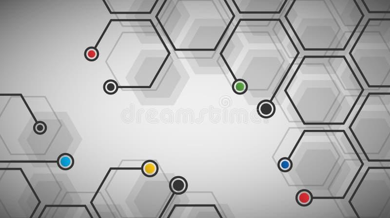 Digital futuristisk sexhörnig cellbakgrund vektor illustrationer