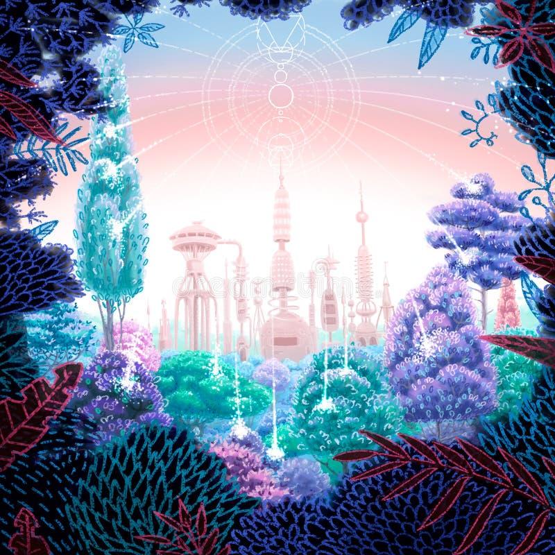 Digital fyrkantig futuristisk illustration av skogen med den kraftiga fabriken bakom royaltyfri illustrationer