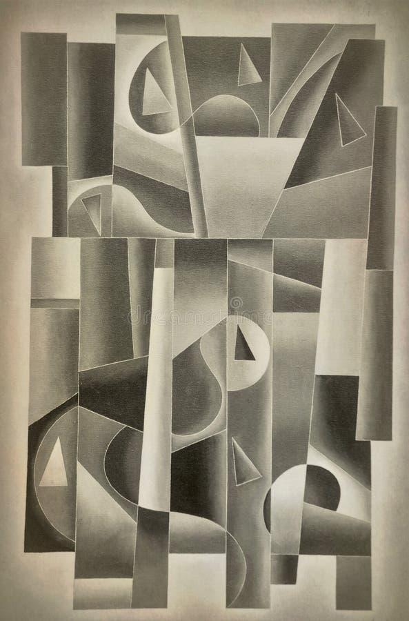 Digital géométrique Art Sepia illustration stock