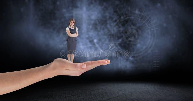 Digital gömma i handflatan den sammansatta bilden av kvinnaanseendet på mot manöverenhetsdiagram i bakgrund stock illustrationer