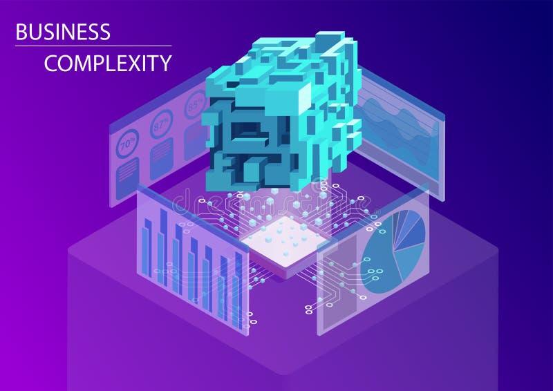 Digital-Geschäftskomplexitätskonzept isometrische Illustration des Vektors 3d mit dem Schwimmen des komplexen vielfältigen Würfel vektor abbildung