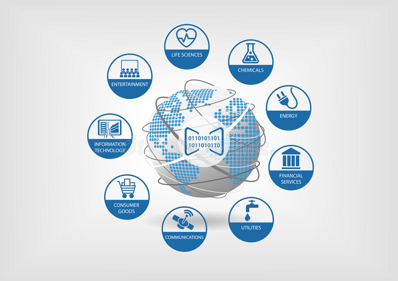 Digital-Geschäftsmodelle für globale Wirtschaft Vector Ikonen für verschiedene Industrien wie Biowissenschaften stock abbildung
