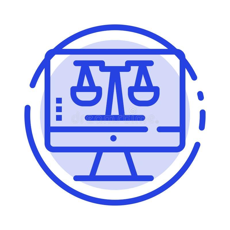 Digital-Gesetz on-line, Computer, Technologie, Linie Ikone der Schirm-blauen punktierten Linie vektor abbildung