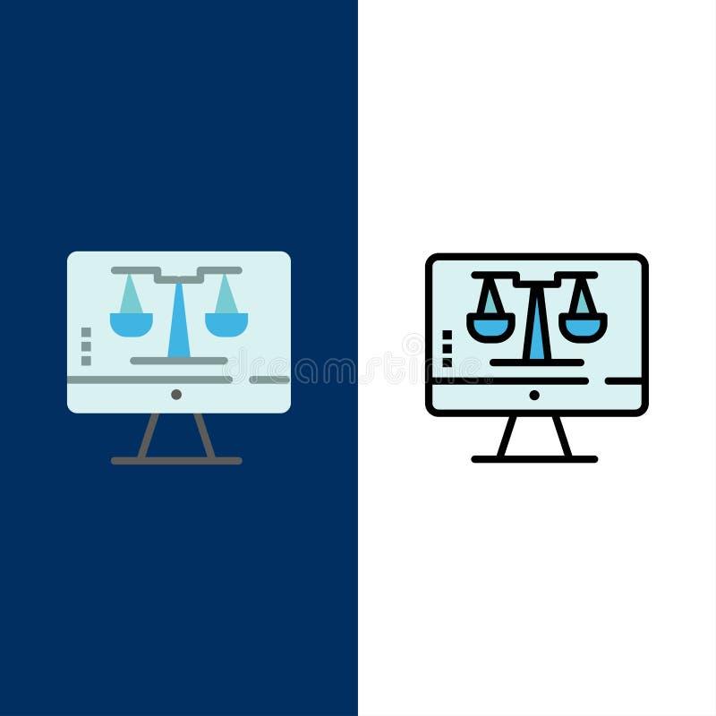 Digital-Gesetz on-line, Computer, Technologie, Schirm-Ikonen Ebene und Linie gefüllte Ikone stellten Vektor-blauen Hintergrund ei lizenzfreie abbildung