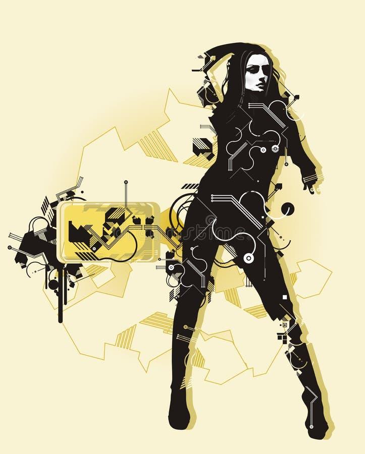 Digital girl. & abstract background,vector illustration