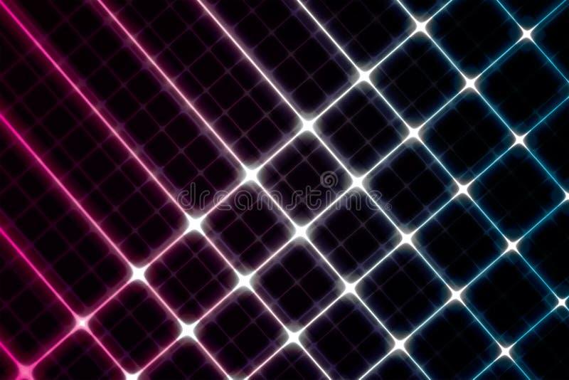 Digital-glühender Hintergrund High-Teches Rosa und blaue Linien auf Schwarzem lizenzfreie abbildung