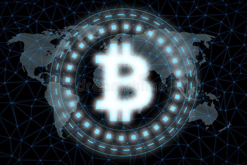 Digital glühendes Bitcoin führten hellen Schwebeflug über der Weltkarte, die durch Knoten des Atmosphärenglobalen netzwerks umgeb lizenzfreie abbildung