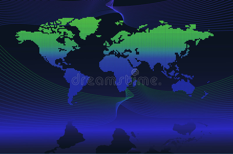 Digital global map. Global map which is made of a bunch of dotted dark blue and green point. Best used for globalization representation royalty free illustration