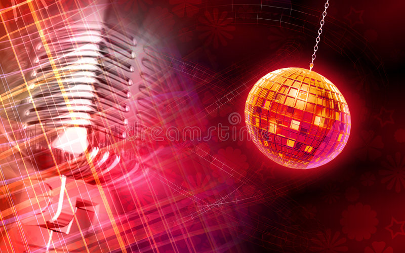 Digital globe and microphone background vector illustration