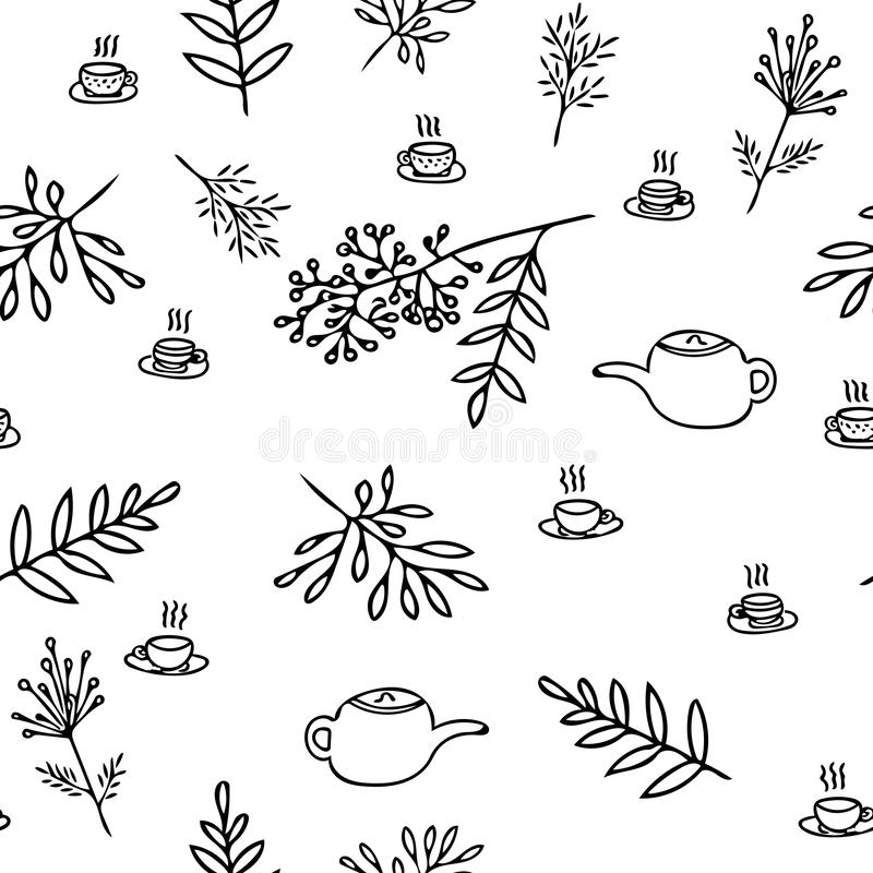 Digital graphics seamless pattern from hand drawn autumn leaves, teapots, cups. cozy, cute stock illustration