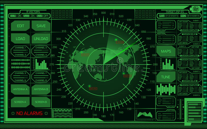 Digital green radar screen with world map, targets and futuristic user interface on dark background. Abstract digital green radar screen with world map, targets stock illustration