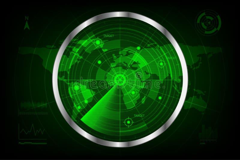 Digital green radar with targets and world map vector illustration
